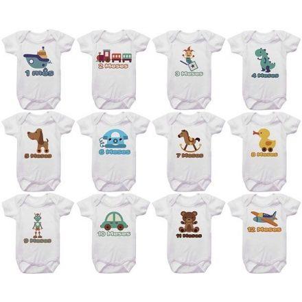 Kit Body Mesversario Brinquedos De Bebê Personalizado