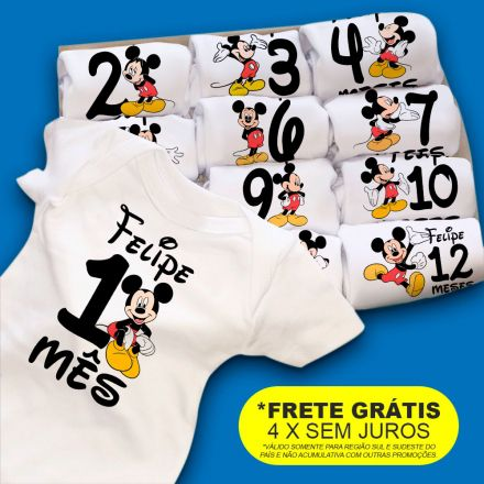 Kit Body Mesversario Mickey Personalizado