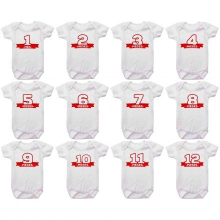 Kit Body Mesversario Números Vermelho Personalizado