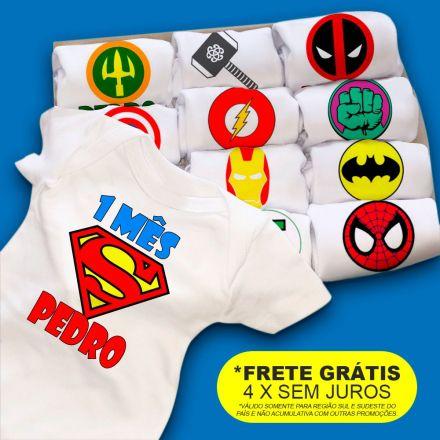 Kit Body Mesversario Personalizado Super Heróis
