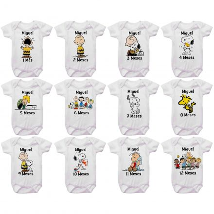 Kit Body Mesversario Turma Do Charlie Brown E Snoopy Personalizado