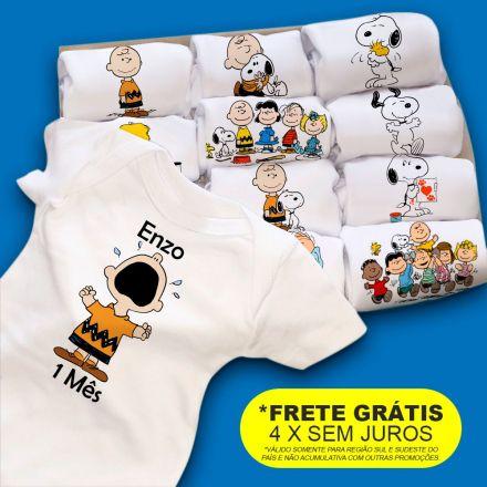 Kit Body Mesversario Turma Do Charlie Brown E Snoopy Personalizado