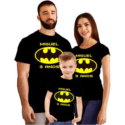 Kit Camiseta Aniversário Personalizada Batman