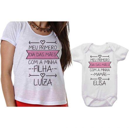 Kit Camiseta e Body Meu Primeiro Dia das Mães CA0648