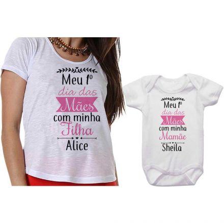 Kit Camiseta e Body Meu Primeiro Dia das Mães CA0649