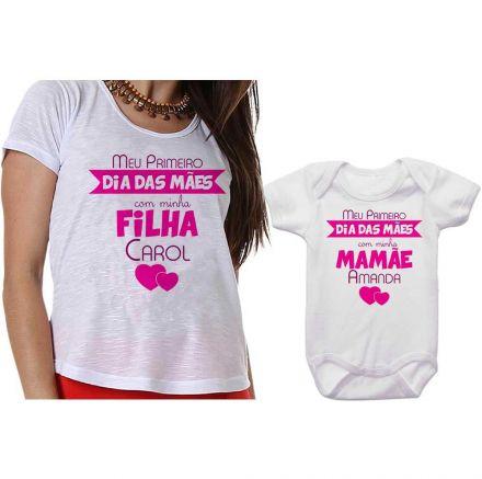 Kit Camiseta e Body Meu Primeiro Dia das Mães CA0650