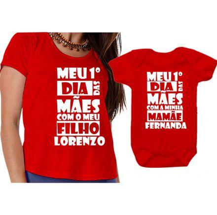 Kit Camiseta e Body Meu Primeiro Dia das Mães CA0652