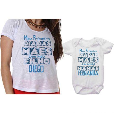 Kit Camiseta e Body Meu Primeiro Dia das Mães CA0658