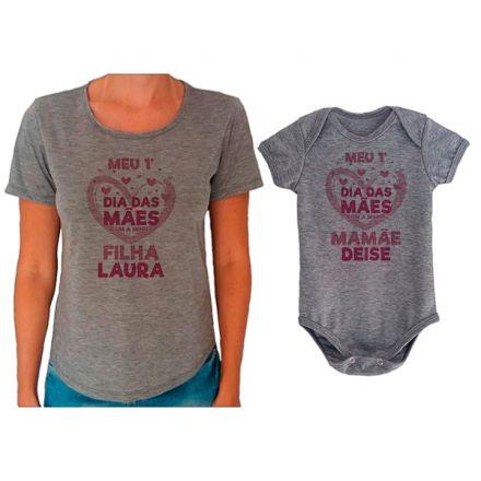 Kit Camiseta e Body Meu Primeiro Dia das Mães CA0663