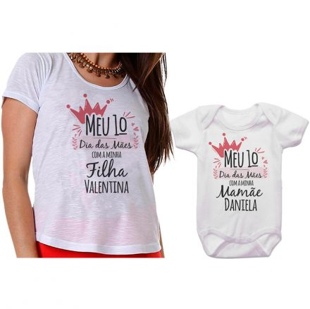 Kit Camiseta e Body Meu Primeiro Dia das Mães CA0667