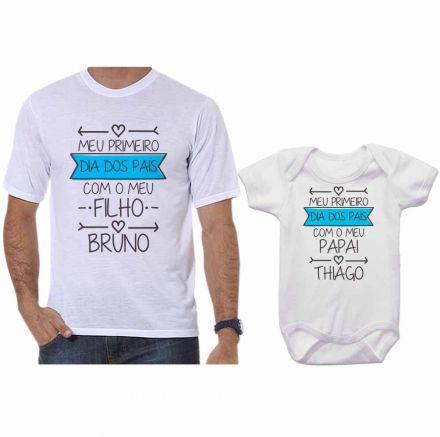 Kit Camiseta e Body Meu Primeiro Dia dos Pais CA0689