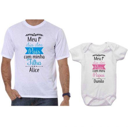 Kit Camiseta e Body Meu Primeiro Dia dos Pais CA0699