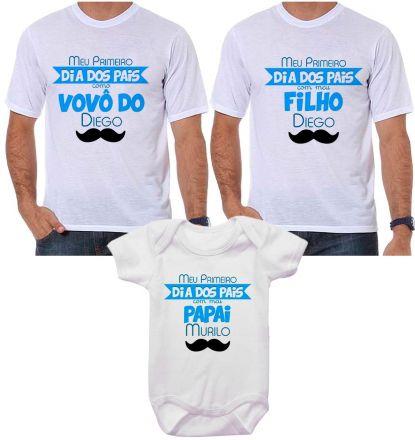 Kit Camiseta e Body Meu Primeiro Dia dos Pais CA0705
