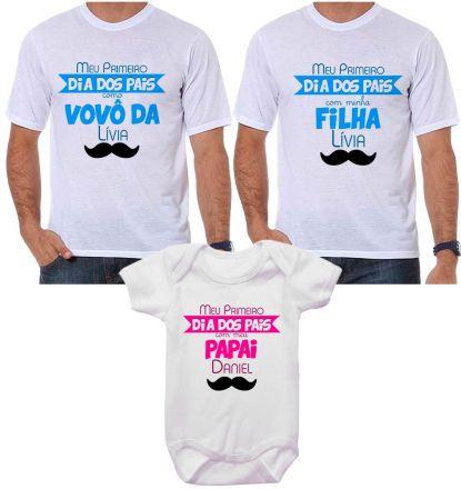 Kit Camiseta e Body Meu Primeiro Dia dos Pais CA0706