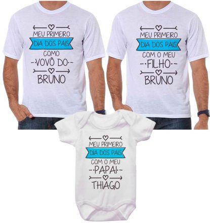 Kit Camiseta e Body Meu Primeiro Dia dos Pais CA0707