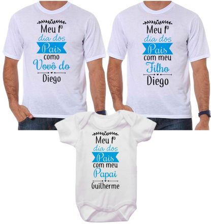 Kit Camiseta e Body Meu Primeiro Dia dos Pais CA0709