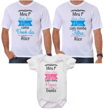 Kit Camiseta e Body Meu Primeiro Dia dos Pais CA0710