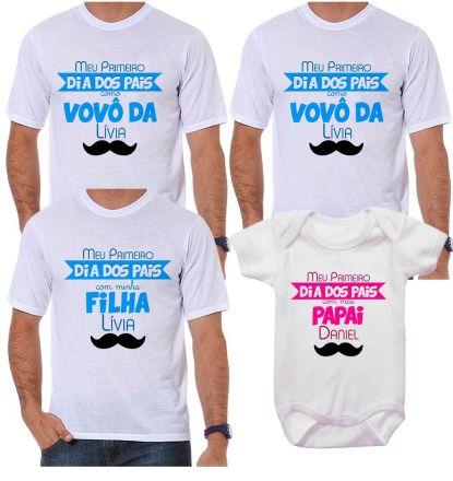 Kit Camiseta e Body Meu Primeiro Dia dos Pais CA0714