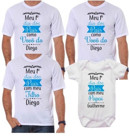 Kit Camiseta e Body Meu Primeiro Dia dos Pais CA0717