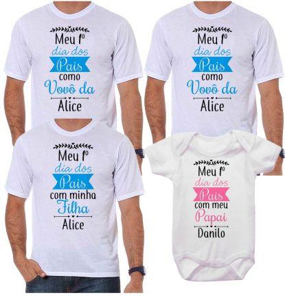 Kit Camiseta e Body Meu Primeiro Dia dos Pais CA0718