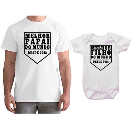 Kit Camiseta e Body Personalizado Tal Pai Tal Filho Melhor Papai do Mundo CA0741