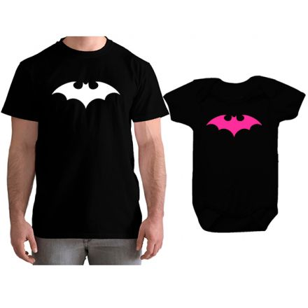 Kit Camiseta e Body Tal Pai Tal Filha Batman CA0762