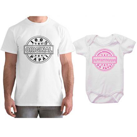 Kit Camiseta e Body Tal Pai Tal Filha Cópia Reduzida e Autenticada do Papai CA0796