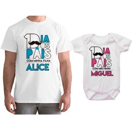 Kit Camiseta e Body Tal Pai Tal Filha Primeiro Dia dos Pais CA0804