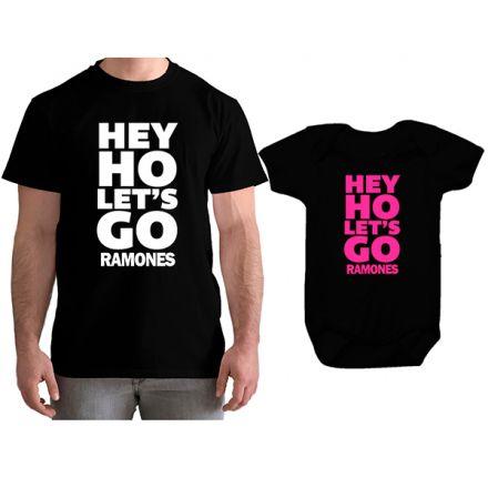 Kit Camiseta e Body Tal Pai Tal Filha Ramones Hey Ho Let´s Go CA0854