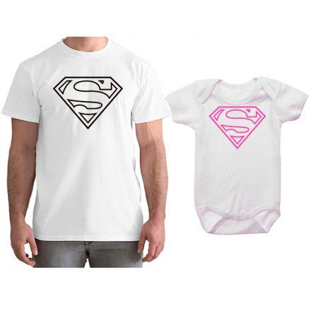 Kit Camiseta e Body Tal Pai Tal Filha Super Homem CA0766