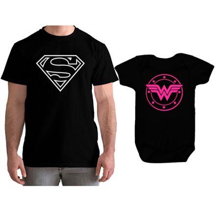 Kit Camiseta e Body Tal Pai Tal Filha Super Homem e Mulher Maravilha CA0767