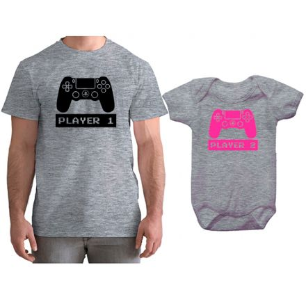 Kit Camiseta e Body Tal Pai Tal Filha VÍdeo Game PS4 CA0768