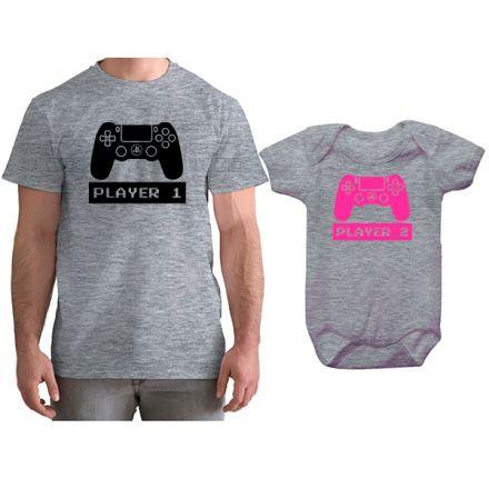 Kit Camiseta e Body Tal Pai Tal Filha VÍdeo Game PS4 CA0768