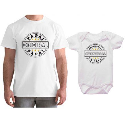 Kit Camiseta e Body Tal Pai Tal Filho Cópia Reduzida e Autenticada do Papai CA0783