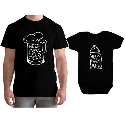 Kit Camiseta e Body Tal Pai Tal Filho Need More Beer CA0790