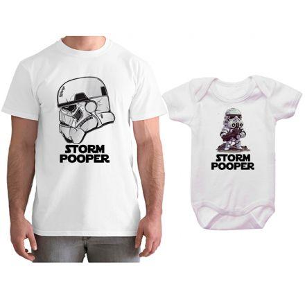 Kit Camiseta e Body Tal Pai Tal Filho Star Wars Storm Pooper CA0793