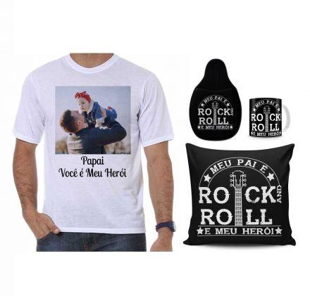 Kit Camiseta Personalizada com Foto, Almofada, Caneca, Lixeira para Carro Dia dos Pais