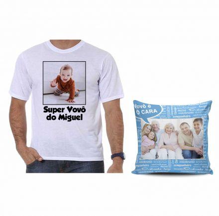 Kit Camiseta Personalizada com Foto e Almofada Dia dos Avós