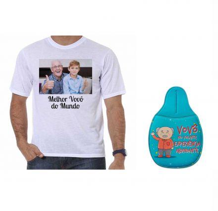 Kit Camiseta Personalizada com Foto e Lixeira para Carro Dia dos Avós