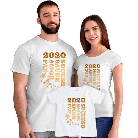 Kit Camisetas 2020 Sucesso Saúde Amor e Paz CA0891