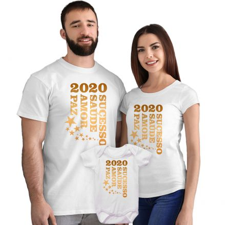 Kit Camisetas e Body 2020 Sucesso Saúde Amor e Paz CA0876