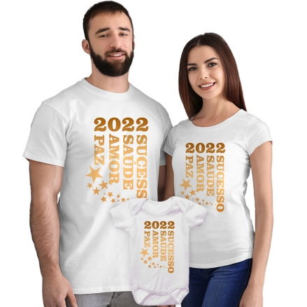 Kit Camisetas e Body 2022 Sucesso Saúde Amor e Paz CA0876