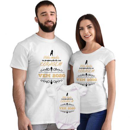 Kit Camisetas e Body A Vida Muda na Proporção da sua Coragem CA0862