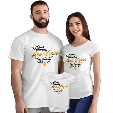 Kit Camisetas e Body Nosso Primeiro Ano Novo em Família CA0872
