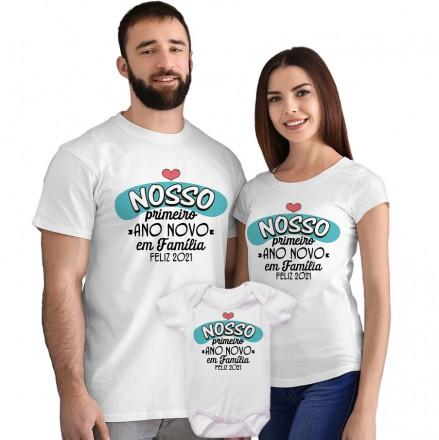 Kit Camisetas e Body Nosso Primeiro Ano Novo em Família CA0873
