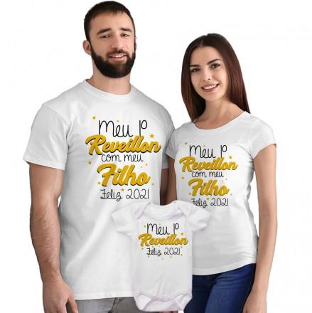 Kit Camisetas e Body Nosso Primeiro Ano Novo em Família CA0879