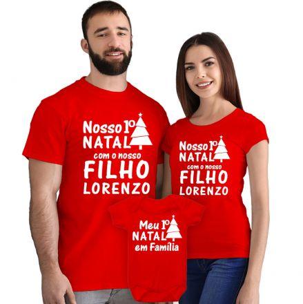 Kit Camisetas e Body Nosso Primeiro Natal CA0895