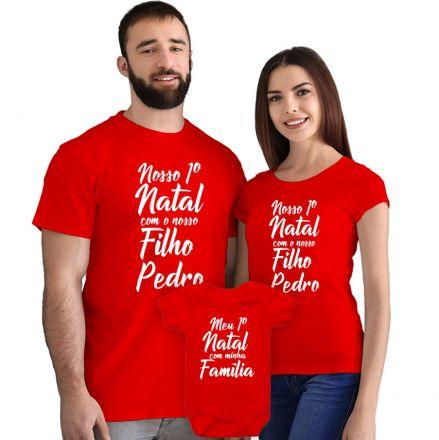 Kit Camisetas e Body Nosso Primeiro Natal CA0897