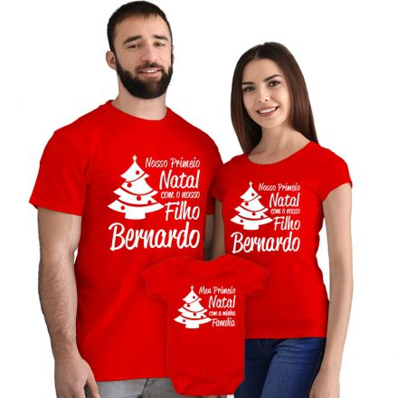Kit Camisetas e Body Nosso Primeiro Natal CA0898