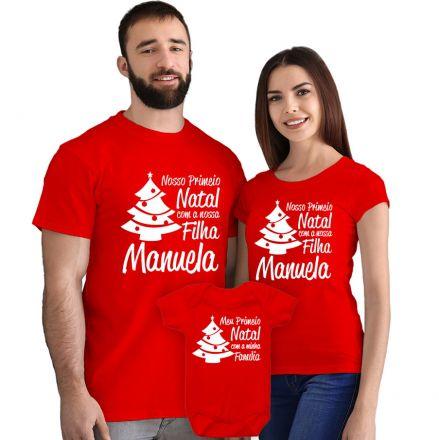 Kit Camisetas e Body Nosso Primeiro Natal CA0899